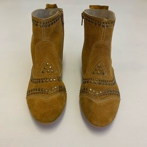 Matisse Camel Suede Ankle Booties with Studs
